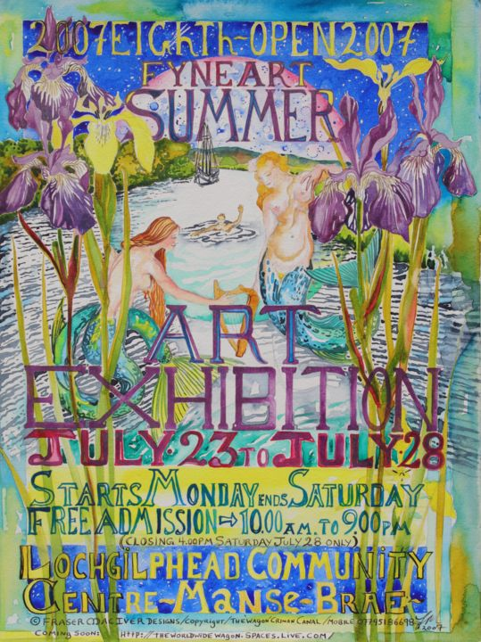 2007 Fyne Art Club Exhibition Poster - Painting,  16.3x12.2 in, ©2007 by Fraser MacIver -                                                                                                                                                                                                                                                                                          Fyne Art Club, 2007 Exhibition Poster, Poster, Lochgilphead, Argyll, Scotland