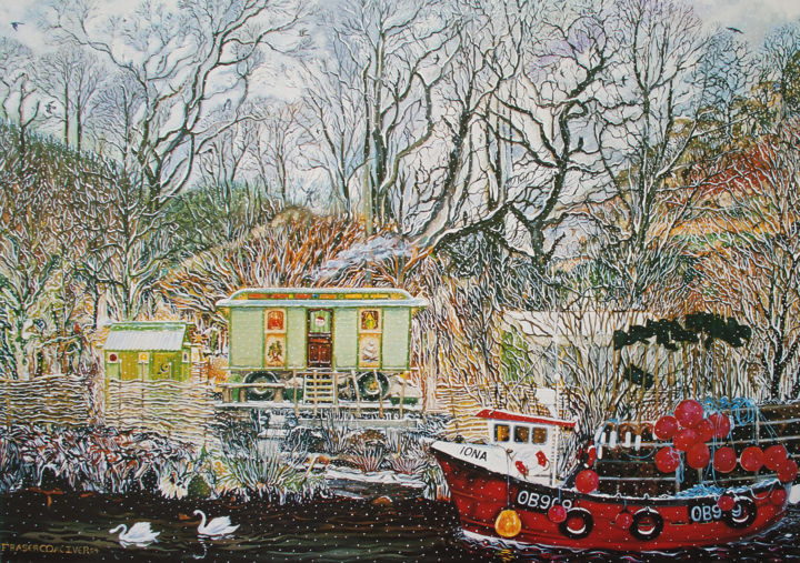 """Painting titled """"The Wagon at Crinan…"""" by Fraser Maciver (1960 - 2019), Original Art, Oil"""