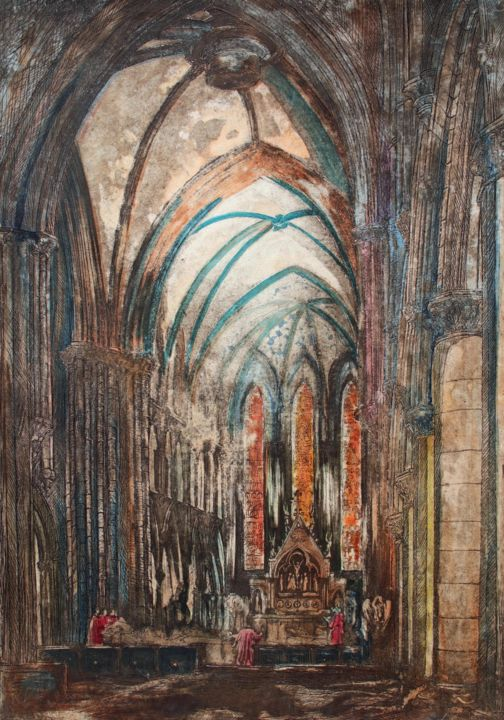 """Printmaking titled """"St Mary's Cathedral…"""" by Fraser Maciver (1960 - 2019), Original Art, Etching"""