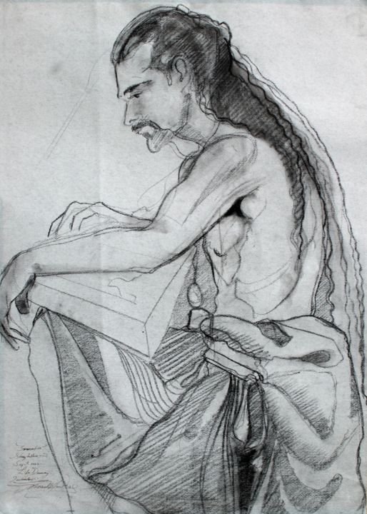 """Drawing titled """"'Seannachie' - Stor…"""" by Fraser Maciver (1960 - 2019), Original Art, Charcoal"""