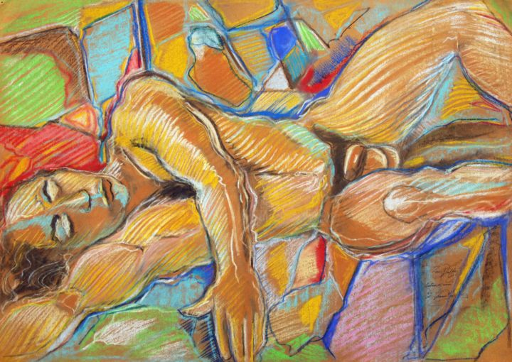 """Drawing titled """"Male nude - life st…"""" by Fraser Maciver (1960 - 2019), Original Art, Charcoal"""