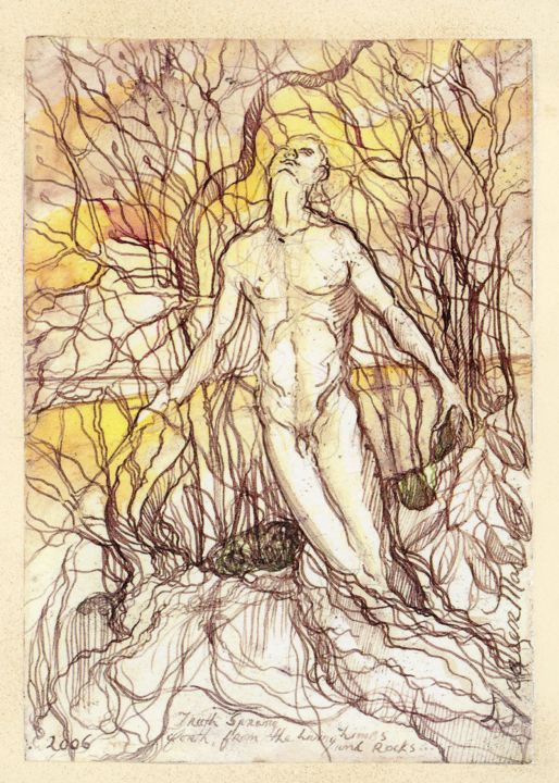"""Drawing titled """"'Truth Spang Forth'…"""" by Fraser Maciver (1960 - 2019), Original Art, Ink"""