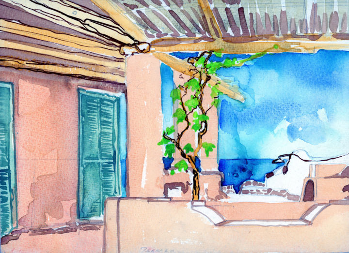 """Painting titled """"Terrazzo Villa Poll…"""" by Fraser Maciver (1960 - 2019), Original Art, Watercolor"""