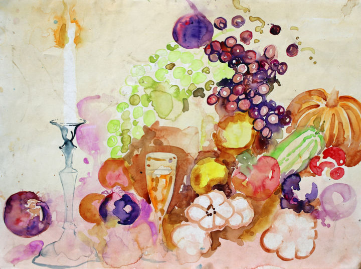 """Painting titled """"Still life - Candle…"""" by Fraser Maciver (1960 - 2019), Original Art, Watercolor"""