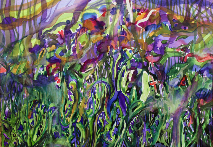 """Painting titled """"Bluebells"""" by Fraser Maciver (1960 - 2019), Original Art, Watercolor"""