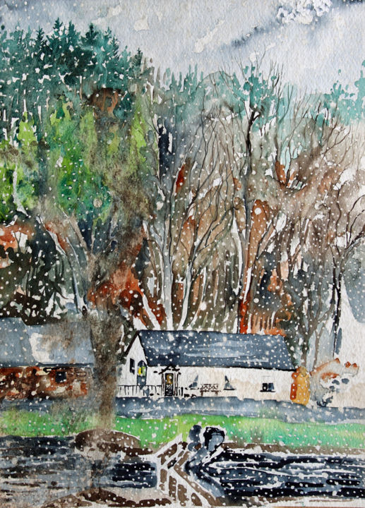 """Painting titled """"Crinan Canal - Lock…"""" by Fraser Maciver (1960 - 2019), Original Art, Watercolor"""