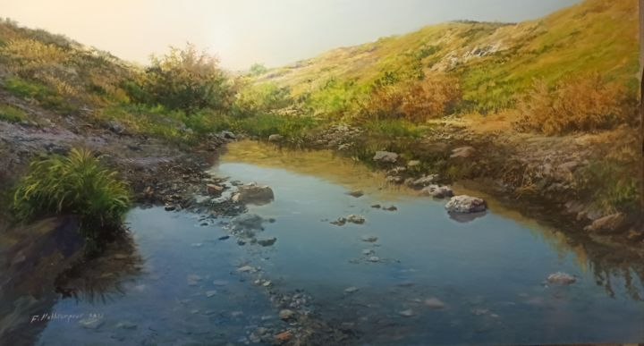 """Painting titled """"Sky Reflection"""" by Faramarz Mokhtarpour, Original Art, Oil"""