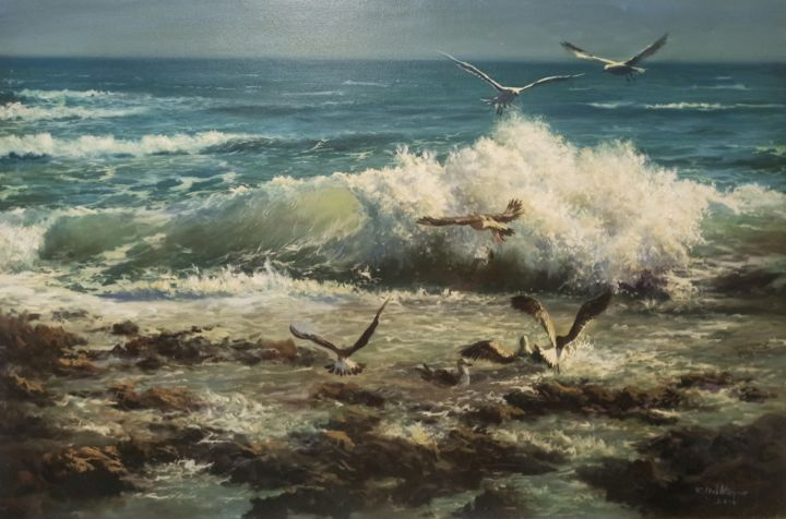 """Painting titled """"Seabirds On The Bea…"""" by Faramarz Mokhtarpour, Original Art, Oil"""