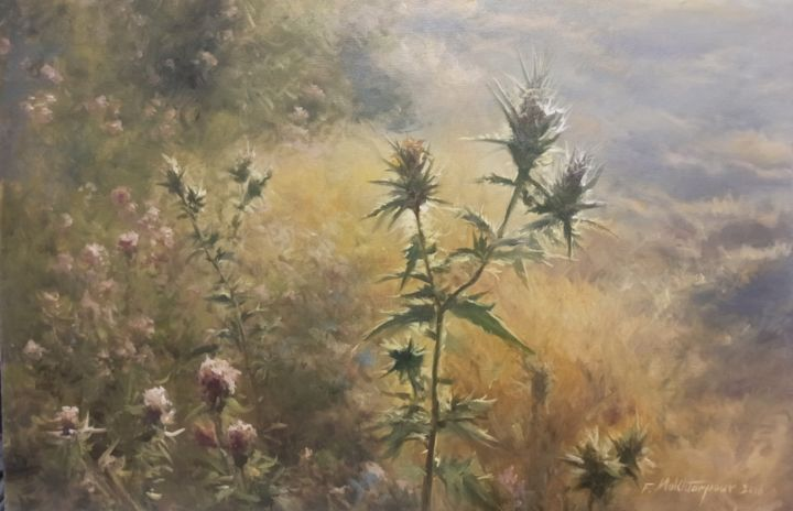 """Painting titled """"Thistles Are Also B…"""" by Faramarz Mokhtarpour, Original Art, Oil"""