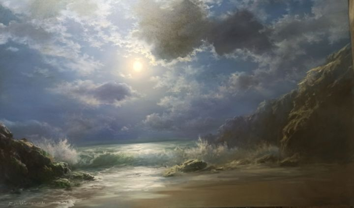 """Painting titled """"Moonlight On The Be…"""" by Faramarz Mokhtarpour, Original Art, Oil"""