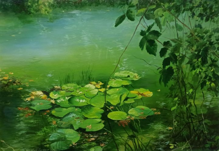 """Painting titled """"Green Waterlilys"""" by Faramarz Mokhtarpour, Original Art, Oil"""
