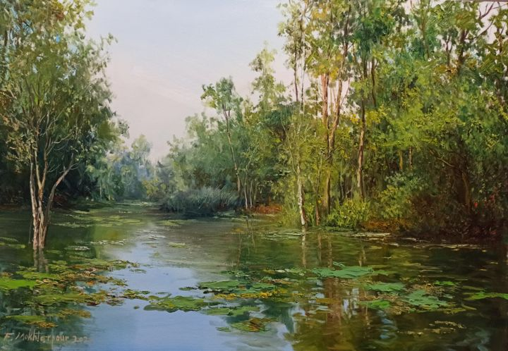 """Painting titled """"Green Reflection"""" by Faramarz Mokhtarpour, Original Art, Oil"""