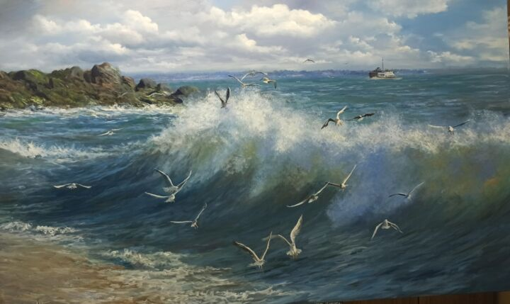 """Painting titled """"Vawes And Seabirds"""" by Faramarz Mokhtarpour, Original Art, Oil"""