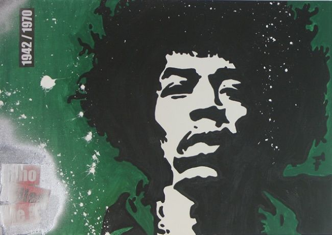 Jimi Hendrix - Who Killed Me - Painting,  70x50 cm ©2012 by F-Red -            Tableau Pop Art / Street Art 50 cm x 70 cm 2012 - Jimi Hendrix - Who Killed Me par Fred Carmona aka F-Red - Art Moderne & Art Contemporain : Pop Art / Street Art / Art Déco / Art Abstrait / Art Minimal