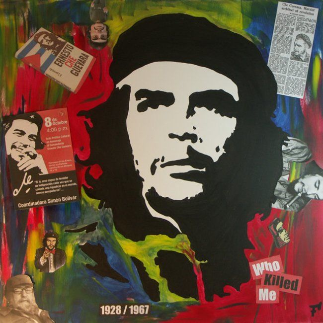 Ernesto Che Guevara - Who Killed Me - Painting,  80x80 cm ©2012 by F-Red -            Tableau Pop Art / Street Art 80 cm x 80 cm 2012 - Ernesto Che Guevara - Who Killed Me par Fred Carmona aka F-Red - Art Moderne & Art Contemporain : Pop Art / Street Art / Art Déco / Art Abstrait / Art Minimal
