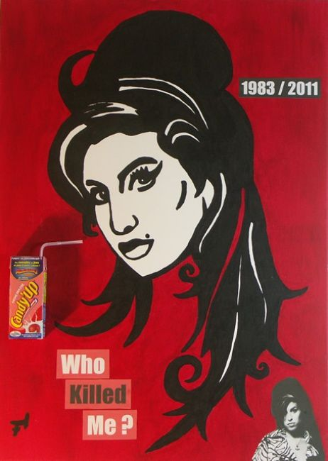 Amy Winehouse - Who Killed Me - Painting,  70x50 cm ©2012 by F-Red -            Tableau Pop Art / Street Art 50 cm x 70 cm 2012 - Amy Winehouse - Who Killed Me par Fred Carmona aka F-Red - Art Moderne & Art Contemporain : Pop Art / Street Art / Art Déco / Art Abstrait / Art Minimal