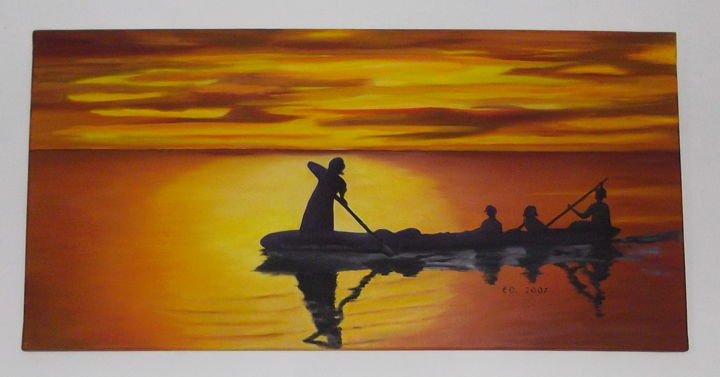 Coucher de soleil - Painting,  15.8x31.5x0.8 in, ©2017 by E.O. -