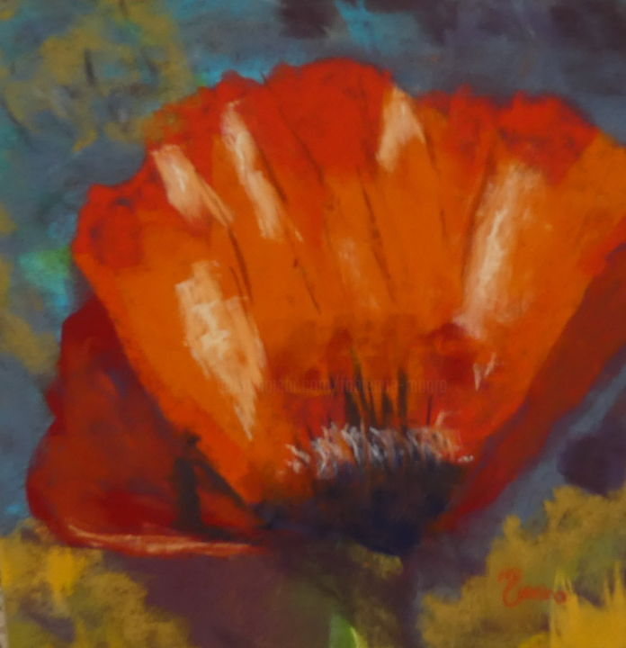 Coquelicot.jpg - Painting,  9.8x9.8 in, ©2017 by Munro -