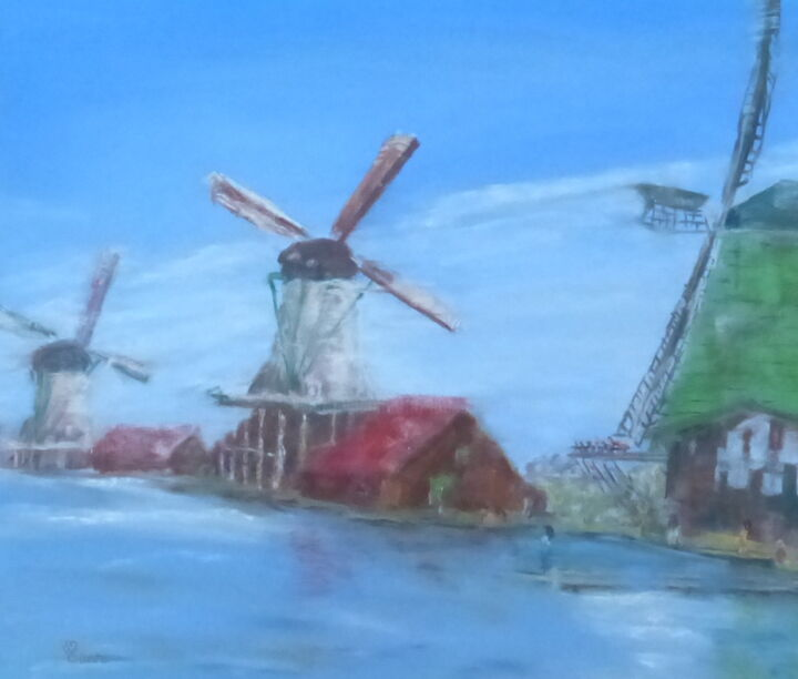 Moulins - Painting,  50x70 cm ©2014 by Munro -