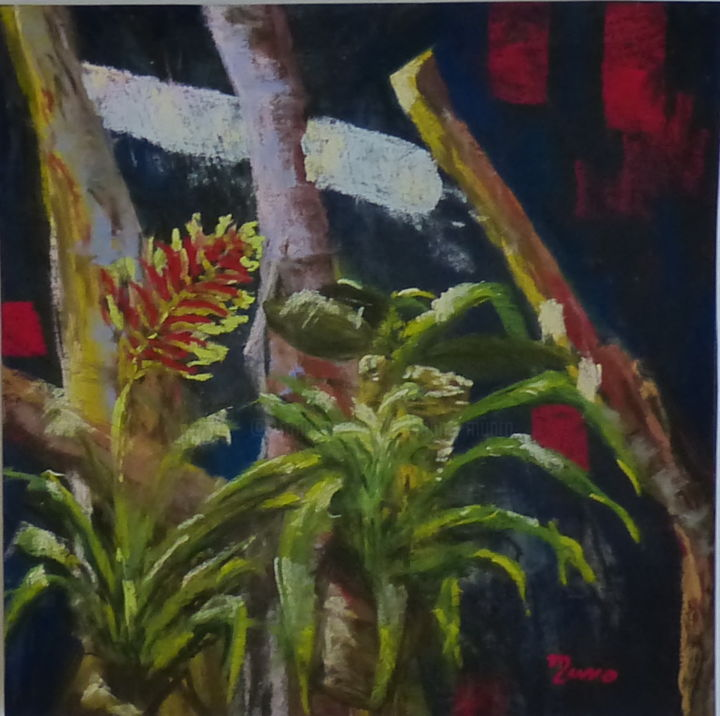 Serre tropicale 1 - Painting,  30x30 cm ©2016 by Munro -
