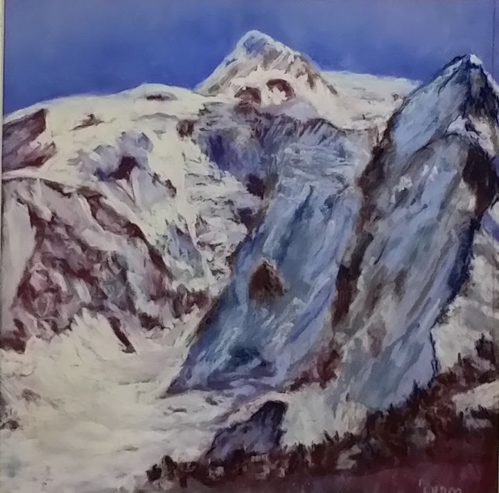 Le Mont Blanc - Painting,  30x30 cm ©2017 by Munro -