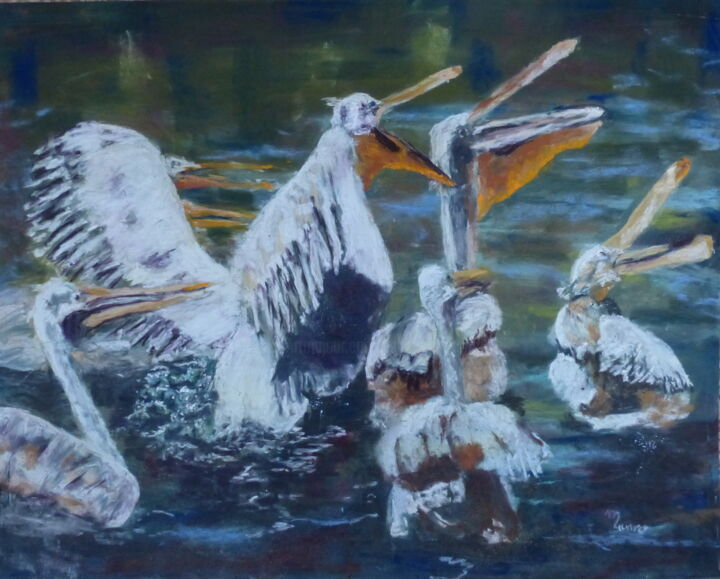 A table - Painting,  50x70 cm ©2016 by Munro -                                    Animals, Birds