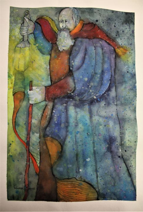 """Painting titled """"l'Hermite"""" by Fabienne Roques, Original Art, Watercolor"""