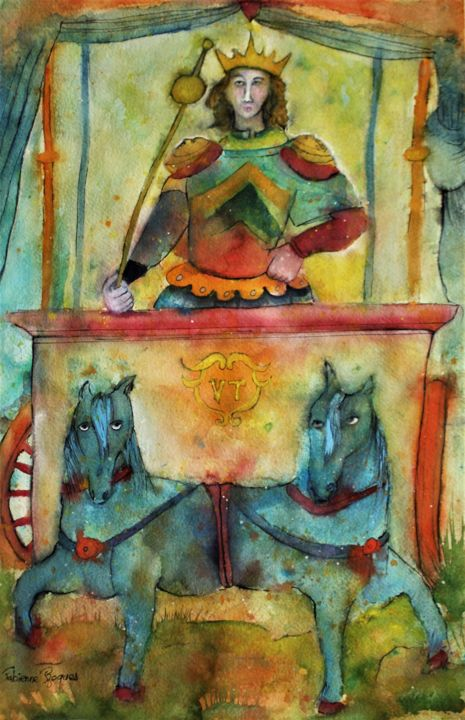 """Painting titled """"Le chariot"""" by Fabienne Roques, Original Art, Watercolor"""
