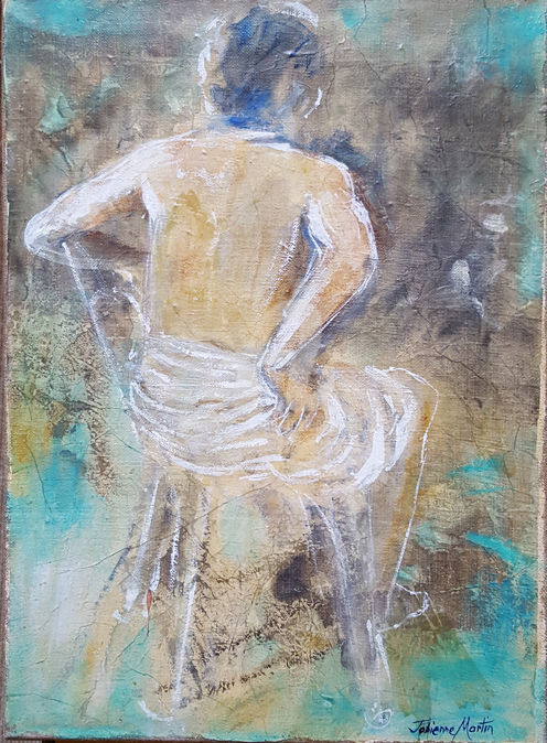 dos-chaise 2 - Painting ©2018 by Fabienne Martin -                                                            Figurative Art, Canvas, Men, dos homme, peinture homme, home decor, tempéra et huile