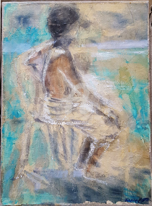 DOS 3 - Painting,  13x9.5 in, ©2005 by Fabienne Martin -                                                                                                                                                                                                                                                                                                                                                                                                                                                                                                                                                                                                                                      Figurative, figurative-594, Men, Nude, People, homme, homme chaise, nu homme, peinture homme, home décor, figuration libre, sur toile de lin, Hommes