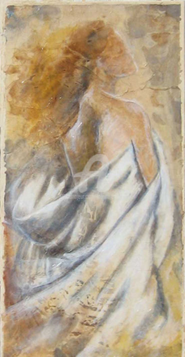 NYMPHE - Painting,  23.6x11.8 in, ©2002 by Fabienne Martin -                                                                                                                                                                                                                                                                                                                                                                                                                                                                                                                                              Expressionism, expressionism-591, Body, Women, Nude, People, drappé nymphe, nymphe tableau, drappé femme, nu drappé, nu tempéra