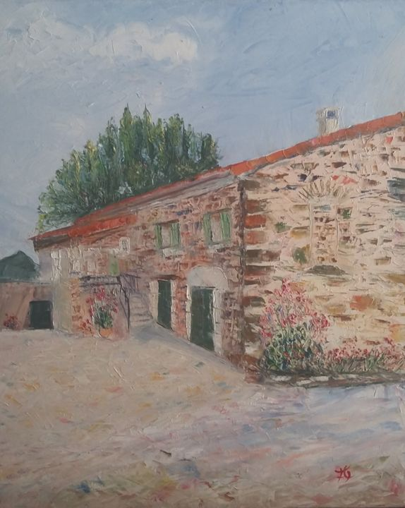 le-gite.jpg - Painting,  18.1x15x0.8 in, ©2017 by Fabrice Gerin -                                                                                                                                                                                                                                                                                                                                                                                                                                                                                                  Impressionism, impressionism-603, Rural life, Home, Landscape, Time, gîte, maison, provence, voyage