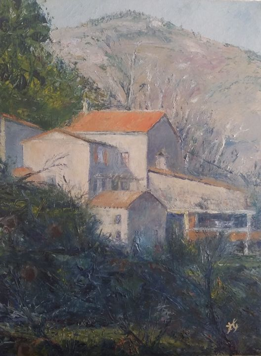 le-travers.jpg - Painting,  15.8x11.8x0.8 in, ©2017 by Fabrice Gerin -                                                                                                                                                                                                                                                                                                                                                                                                                                                      Impressionism, impressionism-603, Rural life, Home, Landscape, Seasons, Maison, paysage, cévennes