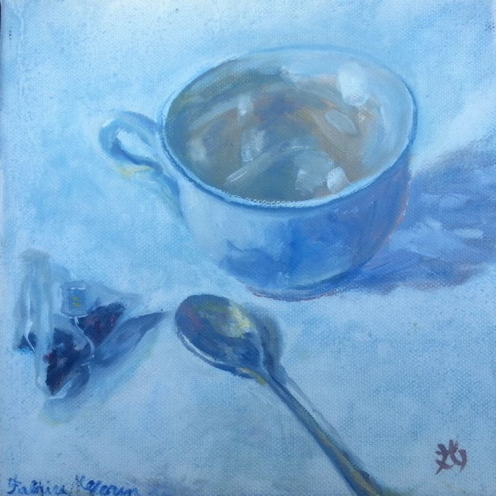 La-Tasse-de-The- - Painting,  7.9x7.9x0.8 in, ©2017 by Fabrice Gerin -                                                                                                                                                                                                                                                                                                                                                                                                          Impressionism, impressionism-603, Love / Romance, Abstract Art, Colors, Culture, Family, tasse de Thé