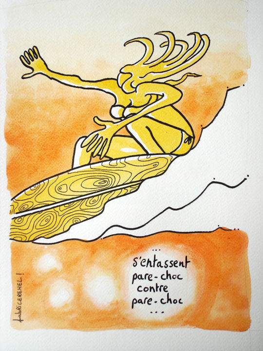 """Drawing titled """"S'entassent pare-ch…"""" by Fabrice Réhel, Original Art,"""