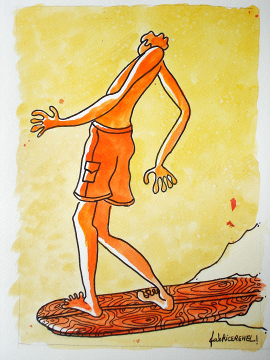 Surfeur - Drawing, ©2009 by Fabrice Réhel -