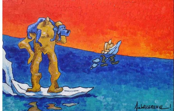 SURF TANDEM AVEC CHIEN BLEU - Painting,  11x16.1 in, ©2006 by Fabrice Réhel -