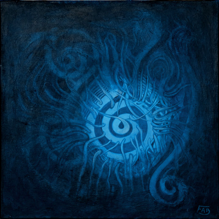 Vortex tentaculaire - Painting,  40x40 cm ©2015 by fabrizzio -                                        Abstract Art, Canvas