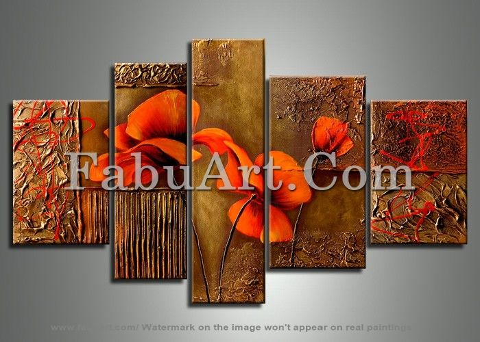 Orange Brown Flower Painting 141 -  62 x 36in - Painting, ©2013 by Amanda Eck -                                                                                                                                                                                                                                                                                                                                                                                                                              orange brown flower painting, orange floral art painting, orange floral art, abstract artworks, modern art painting, modern wall art painting, metal abstract paintings, canvas painting, wall art canvas painting