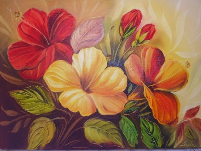 Hibiscus - Painting,  80x60 cm ©2008 by FADA FADUL -