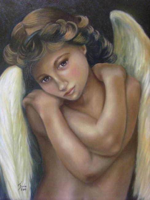 CUPIDO - Painting,  60x80 cm ©2009 by FADA FADUL -                            Classicism, figura humana, anjo, cupido