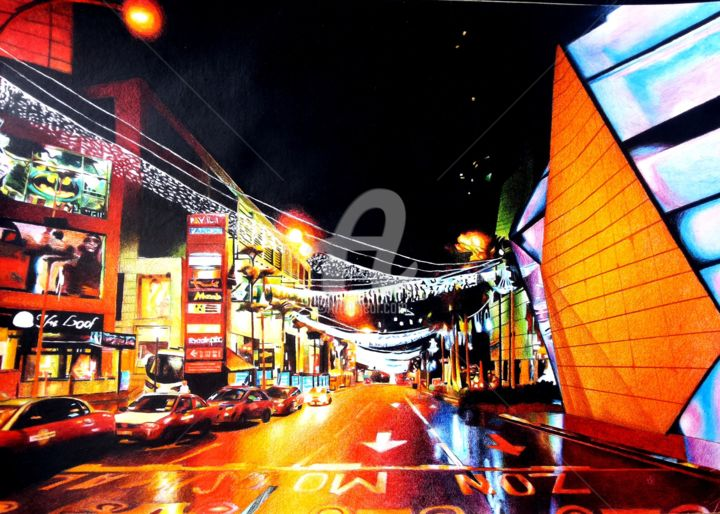 night colour - Painting,  165.4x233.9 in, ©2016 by fadzwan roslan -                                                                                                                                                                                                                                                                                                                                                                                                                                                                                                                                                                                          Hyperrealism, hyperrealism-612, Architecture, Asia, Cityscape, Colors, Landscape, city, night, street, colour, architecture
