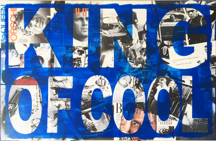 """ King Of Queen "" - Painting,  61x91x4 cm ©2016 by Faldietti -                                                                    Pop Art, Folk, Automobile, People, steve McQueen, Porsche, KingOfCool"