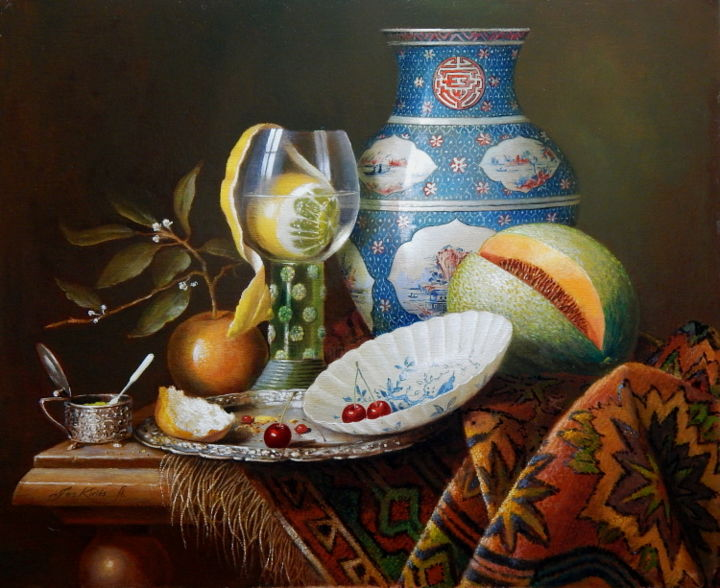 """Painting titled """"Roemer with lemon i…"""" by Jos Kivits, Original Art, Oil"""