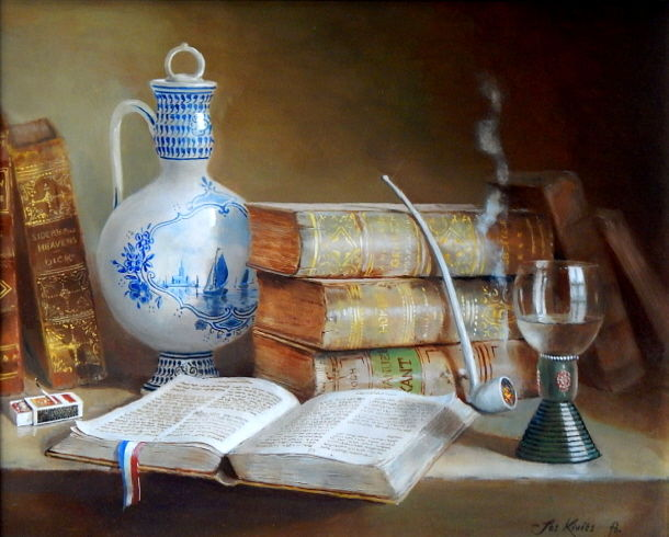 """Painting titled """"""""The library."""""""" by Jos Kivits, Original Art, Oil"""