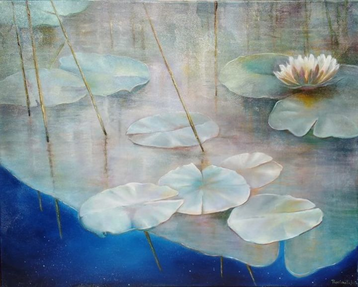 lotus - Painting,  80x100 cm ©2019 by Rosário Falcão -
