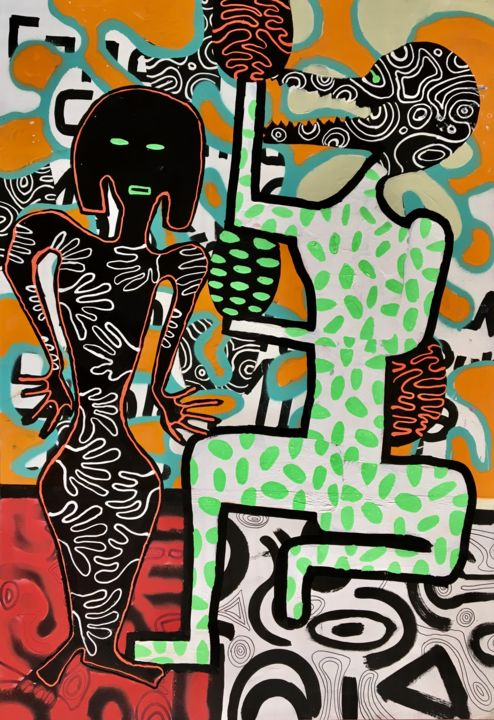 wood panel 21 - Painting,  120x85x4 cm ©2019 by František Florian -                                                                                            Abstract Expressionism, Contemporary painting, Figurative Art, Pop Art, Abstract Art, Body, figurative art, african art, modern art, contemporary art, Picasso, Haring, Florian, Matisse