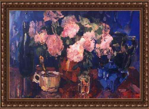 """Painting titled """"Roses in blue"""" by Radeon Faraponov, Original Art,"""