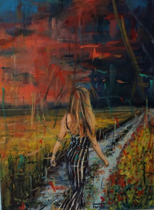 """Painting titled """"El camino"""" by Fariza, Original Art, Oil Mounted on Stretcher frame"""