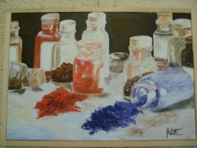 pigments - Painting,  15.8x19.7 in, ©2007 by Arlette Faure -                                                              nature morte